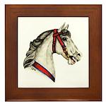 Dapple Grey Carousel Horse Framed Tile