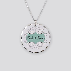 Beautiful Maid Of Honor Necklace Circle Charm