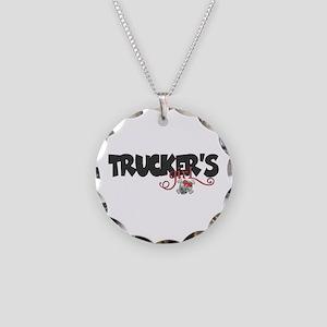 Trucker's Girl w/Skull Necklace Circle Charm