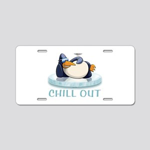 Chill Out Penguin Aluminum License Plate