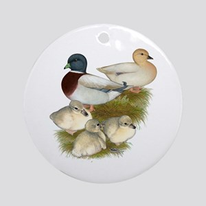 Pastel Call Duck Family Ornament (Round)