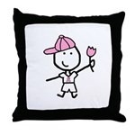 Boy & Pink Ribbon Throw Pillow