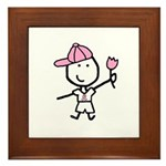 Boy & Pink Ribbon Framed Tile