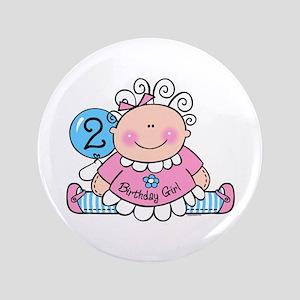 """Little Doll 2nd Birthday 3.5"""" Button"""