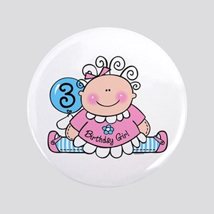 "Little Doll 3rd Birthday 3.5"" Button"