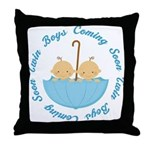 Twins Coming Soon Umbrella Throw Pillow