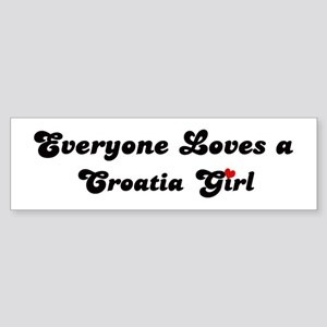 Loves Croatia Girl Bumper Sticker