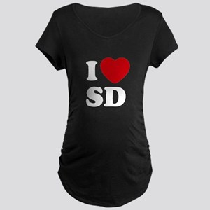I Heart SD Black Maternity T-Shirt
