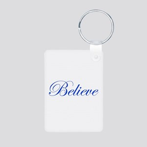 Blue Believe Aluminum Photo Keychain