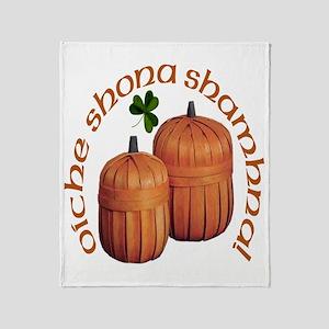 Gaelic Pumpkin Baskets Throw Blanket