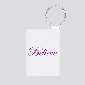Purple Believe Aluminum Photo Keychain