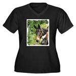 Mule Women's Plus Size V-Neck Dark T-Shirt