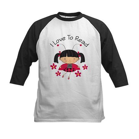 I Love To Read Ladybug Kids Baseball Jersey