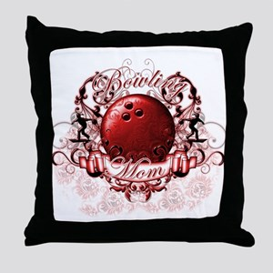 Bowling Mom (Red) Throw Pillow