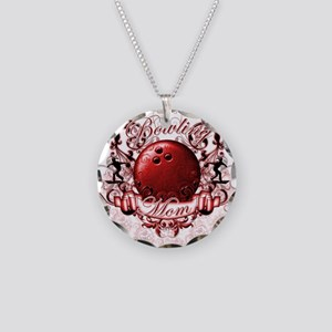 Bowling Mom (Red) Necklace Circle Charm