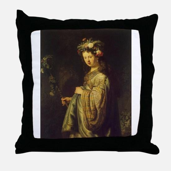 Saskia as Flora Throw Pillow