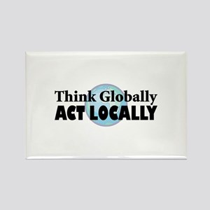 Think Globally Rectangle Magnet