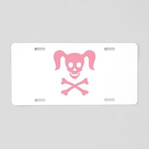 Curly Girlie Skull Aluminum License Plate