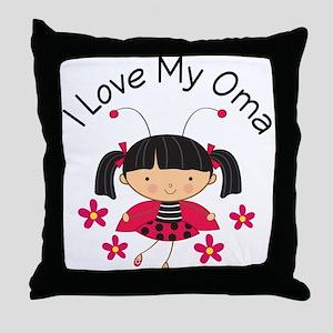 I Love My Oma Ladybug Throw Pillow