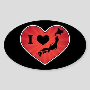 Japan Love Sticker (Oval)