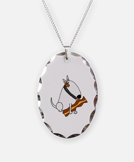 Funny Bull terrier Necklace Oval Charm