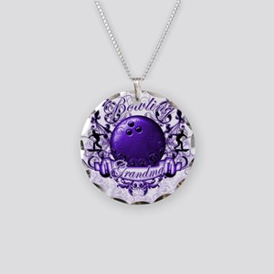 Bowling Grandma (Purple) Necklace Circle Charm