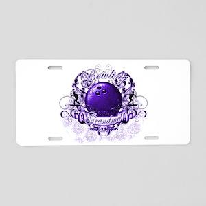 Bowling Grandma (Purple) Aluminum License Plate