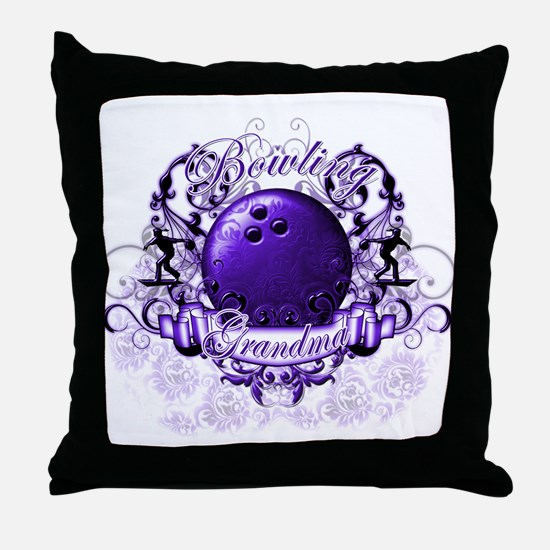Bowling Grandma (Purple) Throw Pillow