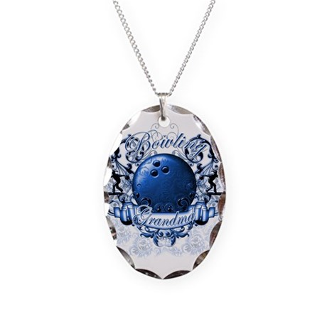 Bowling Grandma (Blue) Necklace Oval Charm