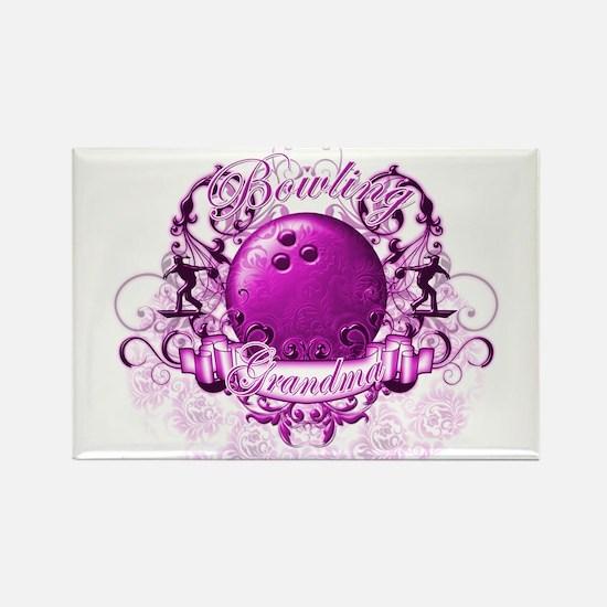 Bowling Grandma (Pink) Rectangle Magnet
