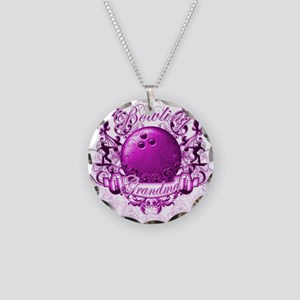 Bowling Grandma (Pink) Necklace Circle Charm