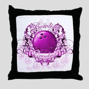 Bowling Grandma (Pink) Throw Pillow