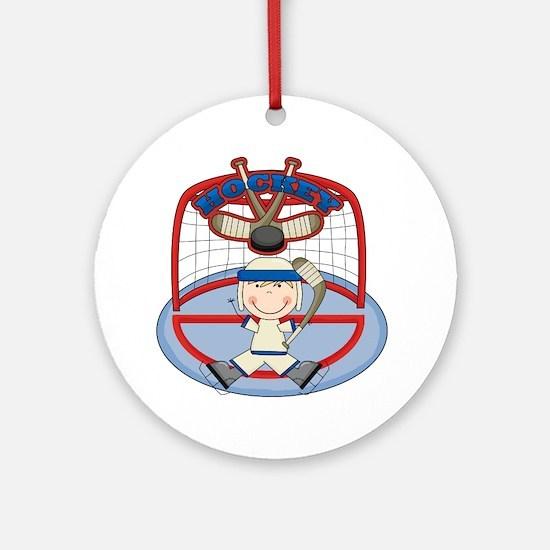 Stick Figure Hockey Goalie Ornament (Round)