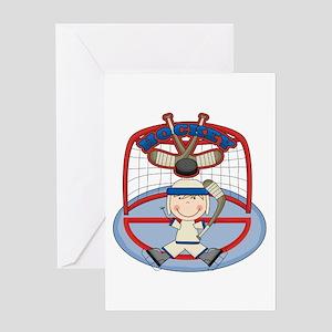 Stick Figure Hockey Goalie Greeting Card