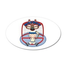 Stick Figure Hockey Goalie 22x14 Oval Wall Peel