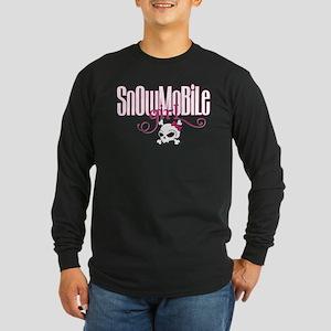 Snowmobile Girl Skull Long Sleeve Dark T-Shirt