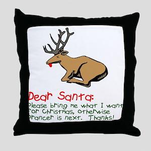 Dear Santa Shot Reindeer Pran Throw Pillow