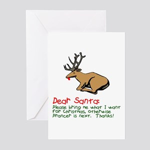 Dear Santa Shot Reindeer Pran Greeting Cards (Pk o