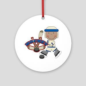 AA Boy Hockey Player Ornament (Round)