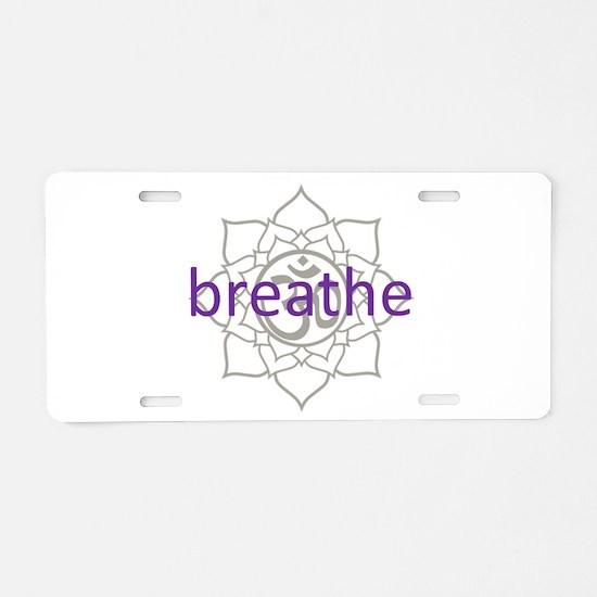 breathe Om Lotus Blossom Aluminum License Plate