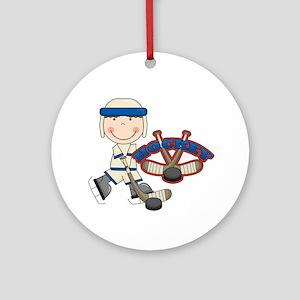 Boy Hockey Player Ornament (Round)