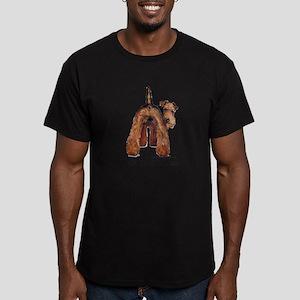 Airedale Terrier Talk Men's Fitted T-Shirt (dark)