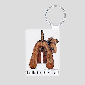 Airedale Terrier Talk Aluminum Photo Keychain