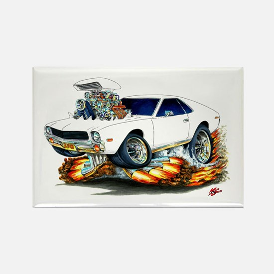 AMX White Car Rectangle Magnet