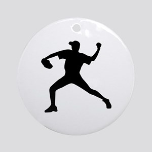 Baseball - Pitcher Ornament (Round)