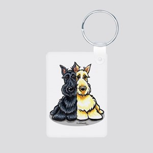 Black Wheaten Scottie Aluminum Photo Keychain