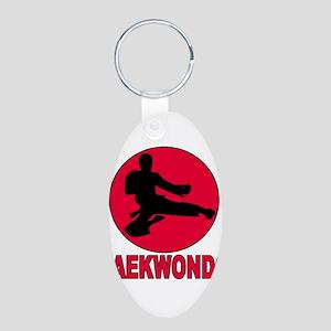 Taekwondo Aluminum Oval Keychain