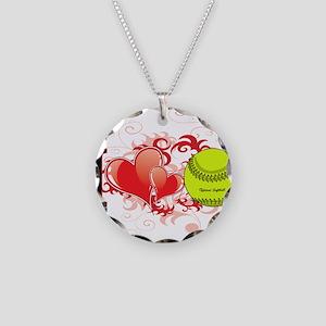 I love softball Necklace Circle Charm