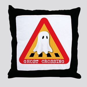 Cute Ghost Crossing Sign Throw Pillow