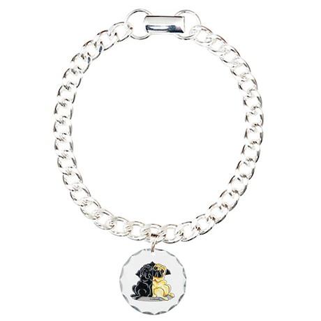 Black Fawn Pug Charm Bracelet, One Charm